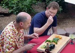 Dave & Bobby sampling Chiles