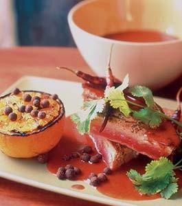 Grilled Tuna with Red Chile, Allspice, and Orange Glaze