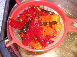 Straining the chiles