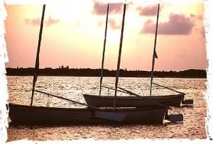 Tiny Sailboats at Sunset