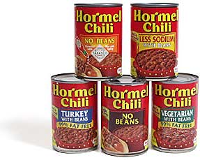 Various types of Hormel® Chili