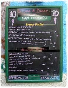 La Buca di Bacco menu