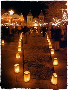 Luminarias or Farolitos are lining the walkways and houses throughout New Mexico