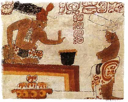 Mayan nobleman testing the heat of his chocolate