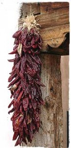 Ristra with Red New Mexican Chiles, dried