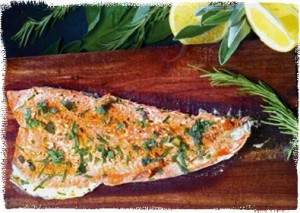 Planked Trout with Cayenne and Herbs