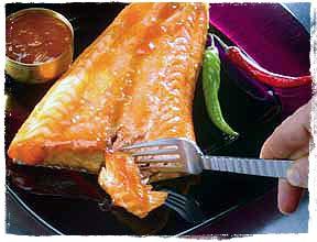 Grilled Alaska salmon with Apricot-Chili Glaze