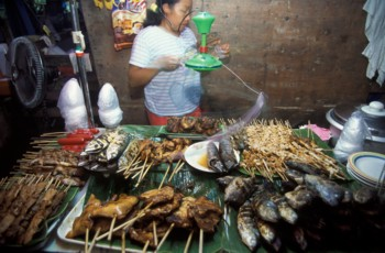 Food Stall with Grilled Meats