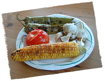 Veggies roasted on the grill