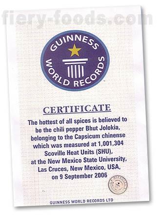 Guinness World Record for Bhut Jolokia