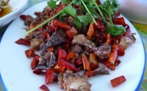 Spicy-sweet chicken La Zi Ji, recipe below.