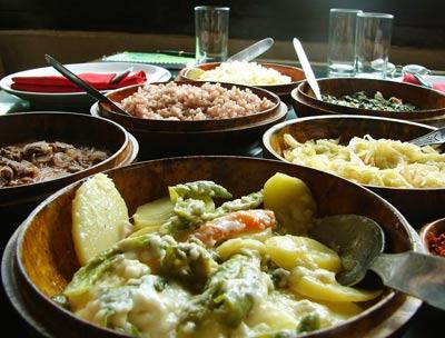Ema Datshi, Bhutanese comfort food (front dish).
