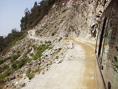 A mountain road in Bhutan