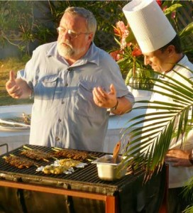 Me taping my show in Jamaica with Kai, Bechinger, Exec. Chef of the Jamaica Inn cooking up jerk shrimp.