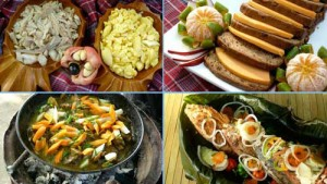 Jamaican foods: (clockwise from top left) Salt fish and ackee, Easter Bun and cheddar cheese, Fried fish with vegetables, Curried goat cooked on a wheel rim barbecue.