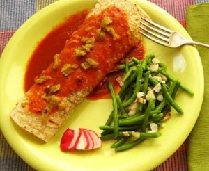 Green Chile Enchiladas with Pinon green beans