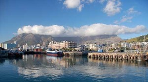 Capetown with Table Mountain in the background.