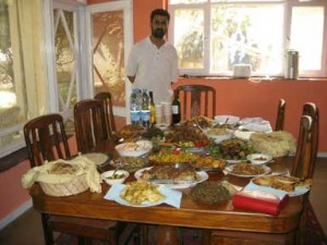 A table of Afghan food in Kabul.
