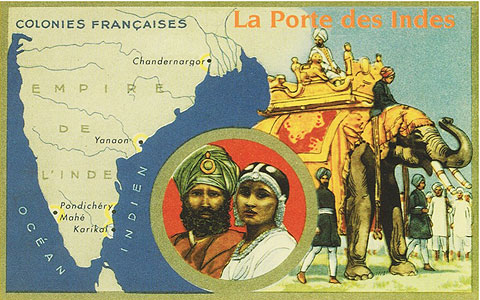 Vintage postcard showing Pondicherry
