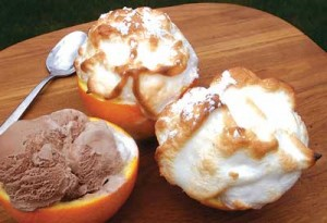 Barbecue Chocolate-Orange Shells are delicious and dramatic.