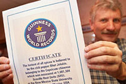 Paul Bosland with Guiness Certificate of World Record