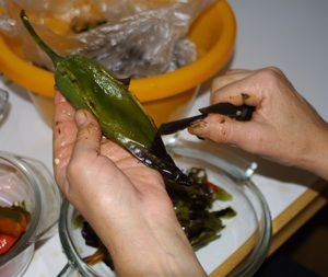 Peeling Chiles