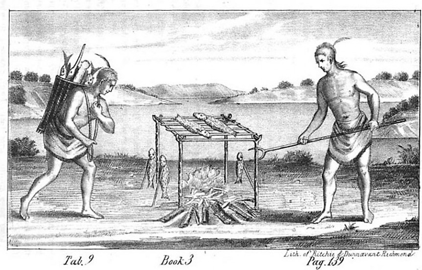 Barbecuing Fish, Virginia, 1705