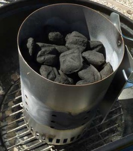 chimney starter with charcoal