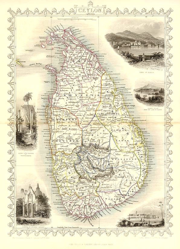 Old Map of Ceylon, Now Sri Lanka