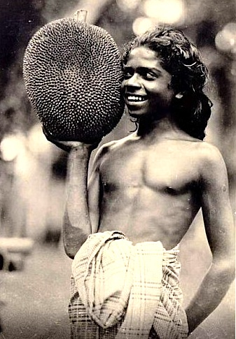 Native Boy with Jackfruit