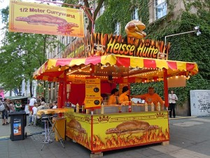 The Heisse Hutte (Hot Hut) that sells 1/2-meter long (19.5-inch long) currywurst in Kassel