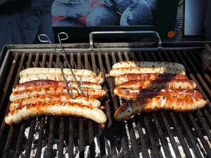 Grilled Bratwurst awaiting the curry sauce finish