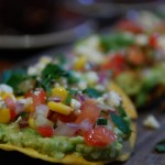 Avocado and Corn Tostadas with Spicy Chile Sauce