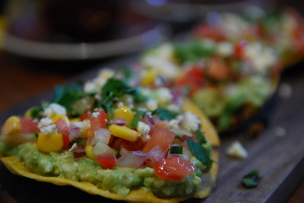 avocado and corn tostada