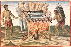 Virginia Indians Smoking Fish, 1590, Theodor DeBry copy