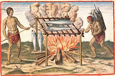 Virginia Indians Smoking Fish, 1590, Theodor DeBry