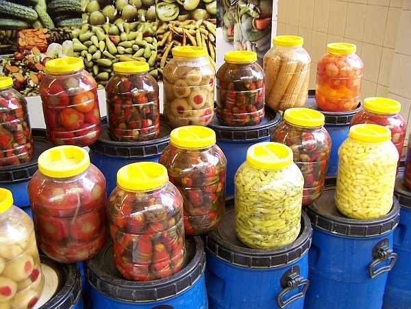 Pickled Peppers in Market