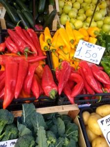 Corno di Toro chiles in an Italian market